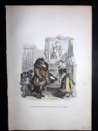 Grandville 1842 Hand Col Print. Well dessed Cats